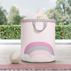 Cesto Organizador para Brinquedos Arco-Íris Listrado Rosa 35cm