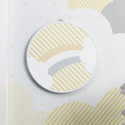 Quadro Bastidor Arco-Íris Listrado Amarelo/Branco 20cm