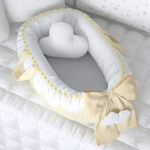 Ninho para Bebê Redutor de Berço Nuvem de Algodão Amarelo