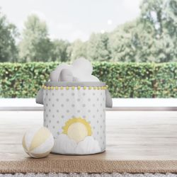 Cesto Organizador para Brinquedos Sol na Nuvem de Algodão Amarelo 24cm