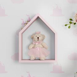 Porta Maternidade Nicho Casinha com Ursa Princesa 22cm