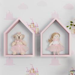Porta Maternidade Nichos Casinha com Princesa e Ursa 22cm