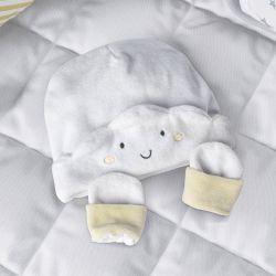 Touca e Luvas para Bebê Nuvem de Algodão Amarelo 6 a 9 Meses