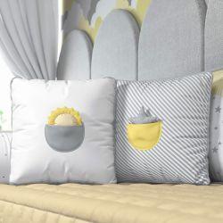 Almofadas com Bolso Solzinho e Estrelinha Amarelo 2 Peças