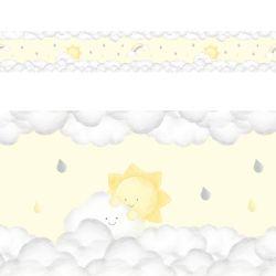 Faixa Adesiva de Parede Solzinho nas Nuvens Amarelo