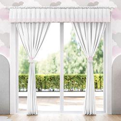 Cortina Listrada com Pompons Rosa/Branco