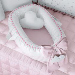 Ninho para Bebê Redutor de Berço Nuvem de Algodão Rosa 80cm