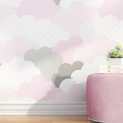 Papel de Parede Nuvem de Algodão Rosa 3m