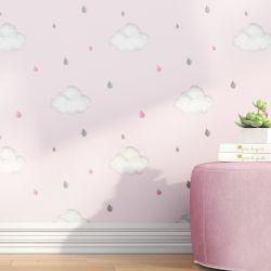 Papel de Parede Nuvens e Gotinhas Rosa 3m