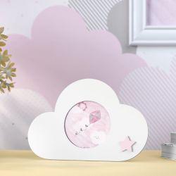 Porta Retrato MDF Nuvem com Estrelinha Rosa 7cm