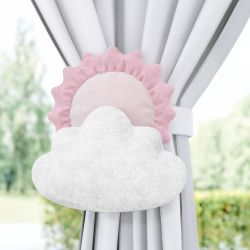 Prendedor de Cortina Sol e Estrela na Nuvem Rosa 2 Peças