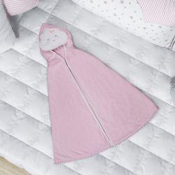 Toalha com Capuz Infantil Nuvem de Algodão Rosa 90cm