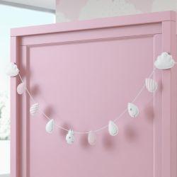 Varal Decorativo Gotinhas e Nuvens Rosa 90cm