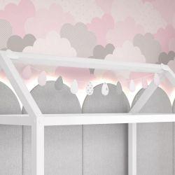 Varal Decorativo Gotinhas e Nuvens Rosa 1,60m