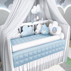 Kit Berço Nuvem de Algodão Azul