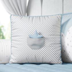 Almofada Listrada com Bolso Estrelinha Cinza/Azul 38cm