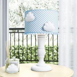 Abajur Torneado Nuvens e Pompons Listrado Azul