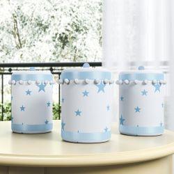 Jogo de Potes Estrelinhas e Pompons Azul