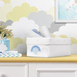Cesto Organizador Sol e Nuvens de Algodão Azul 40cm