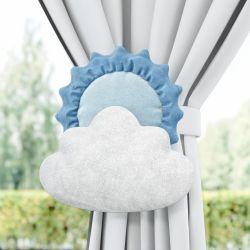 Prendedor de Cortina Sol e Estrela na Nuvem Azul 2 Peças