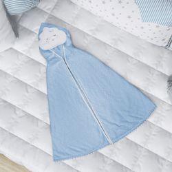 Toalha com Capuz Infantil Nuvem de Algodão Azul 90cm