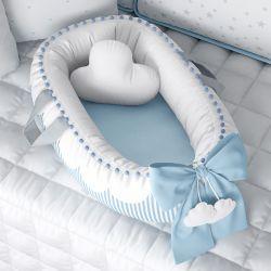 Ninho para Bebê Redutor de Berço Nuvem de Algodão Azul 80cm