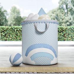 Cesto Organizador para Brinquedos Arco-Íris Listrado Azul/Branco 35cm