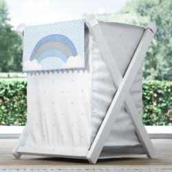 Cesto de Roupas Arco-Íris Listrado Azul/Cinza 68cm
