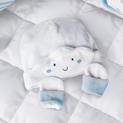 Touca e Luvas para Bebê Nuvem de Algodão Azul