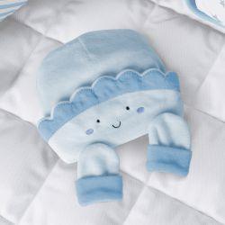 Touca e Luvas para Bebê Sol Azul