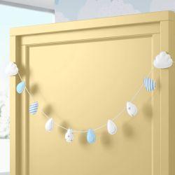 Varal Decorativo Gotinhas e Nuvens Azul 90cm