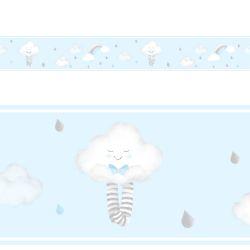Faixa Adesiva de Parede Nuvem de Algodão Azul