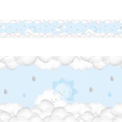 Faixa Adesiva de Parede Solzinho nas Nuvens Azul
