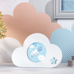 Porta Retrato MDF Nuvem com Estrelinha Azul 7cm