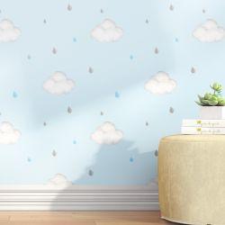 Papel de Parede Nuvens e Gotinhas Azul 3m