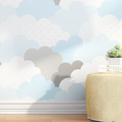 Papel de Parede Nuvem de Algodão Azul 3m
