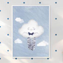 Quadro Nuvem de Algodão Azul Marinho