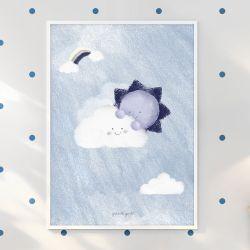 Quadro Céu Ensolarado Azul Marinho