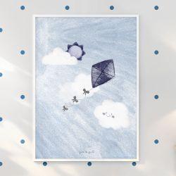 Quadro Pipa nas Nuvens Azul Marinho