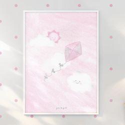Quadro Pipa nas Nuvens Rosa