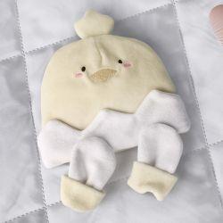 Touca e Luvas para Bebê Amiguinho Pintinho