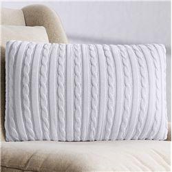 Almofada Retangular Tricot Branco 45cm
