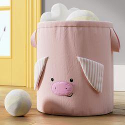 Cesto Organizador para Brinquedos Amiguinho Porquinho 35cm