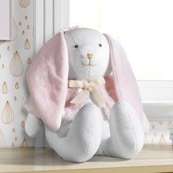 Bichinho de Pelúcia Coelha Branco/Rosa 45cm