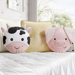 Almofadas Amiguinhos Porquinho, Vaquinha e Botões 3 Peças