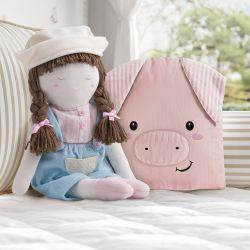 Almofada Amiguinho Porquinho e Boneca Fazendeira 2 Peças