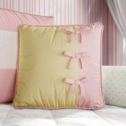 Almofada Laços Amarelo/Rosa 38cm
