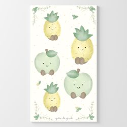 Adesivos de Parede Amiguinhos Abacaxi e Maçã Verde