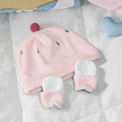 Touca e Luvas para Bebê Cupcake Cerejinha