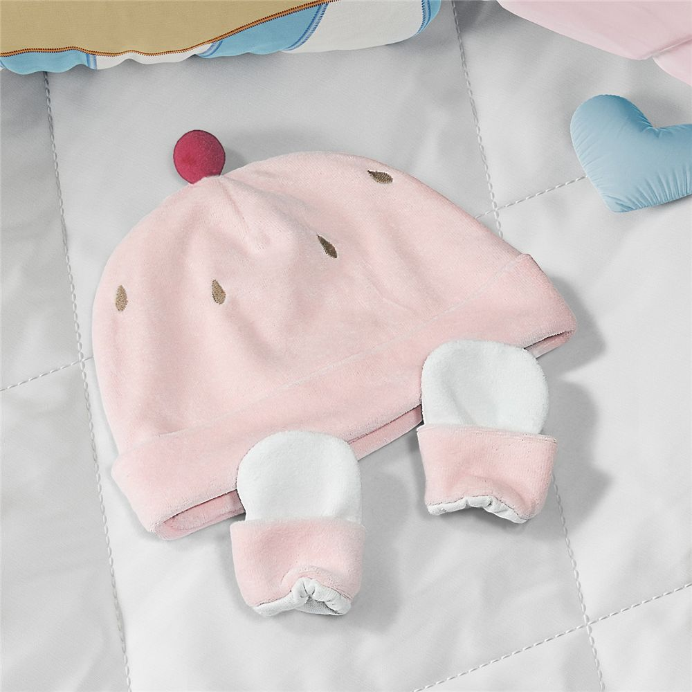 Touca e Luvas Bebê Rosa Cupcake 3-6 M Grão de Gente